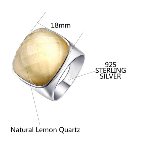 Natural Square Citrine Sterling Silver Ring