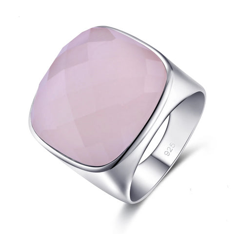 Natural Square Rose Quartz Sterling Silver Ring