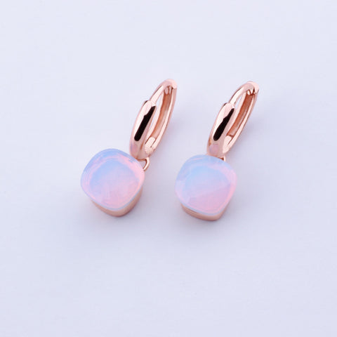 Moonstone Earring Ring  Set Sterling Silver with Rose Gold Color