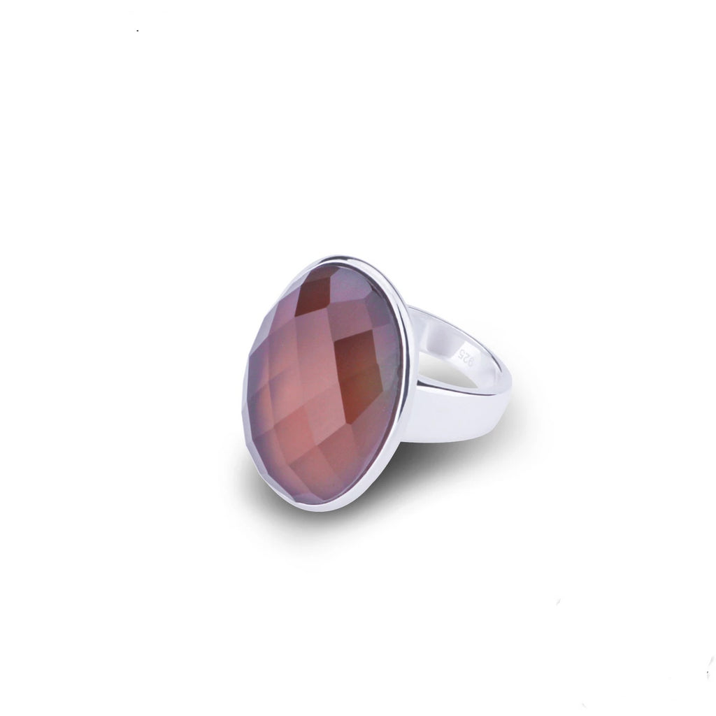 Natural 25.2ct Oval Smoky Quartz Sterling Silver Ring