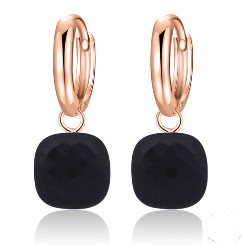 Natural Black Agate Sterling Silver With Rose Gold Color Drop Earrings