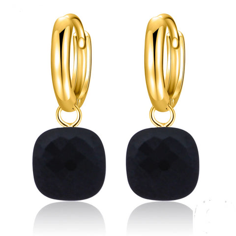 Natural Black Agate Sterling Silver With Gold Color Drop Earrings