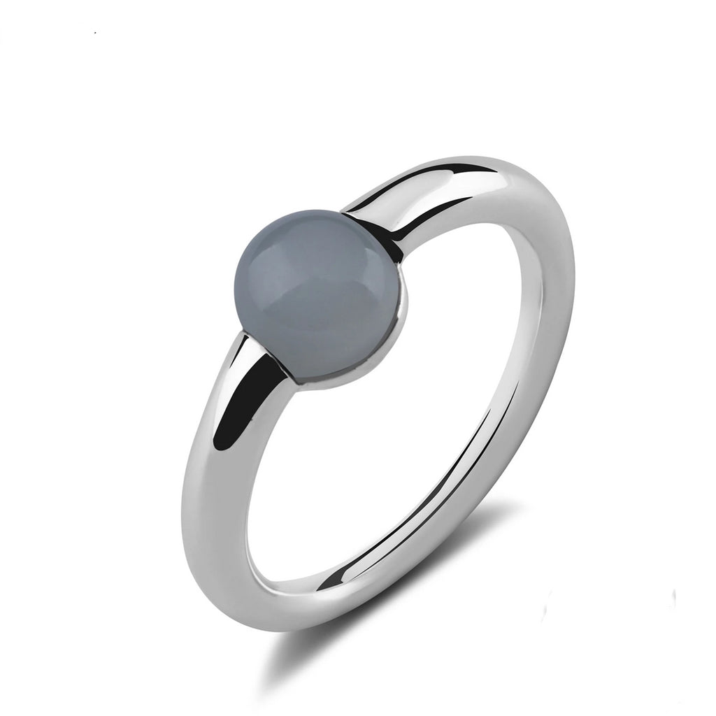 Natural Round Gray Agate Sterling Silver Ring
