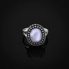 Natural Rectangle Moonstone Sterling Silver Ring
