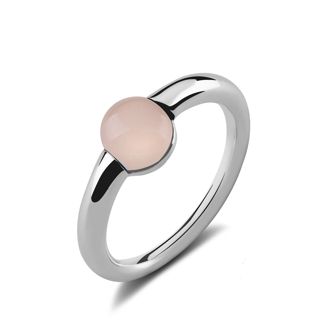 Natural Round Pink Agate Sterling Silver Ring