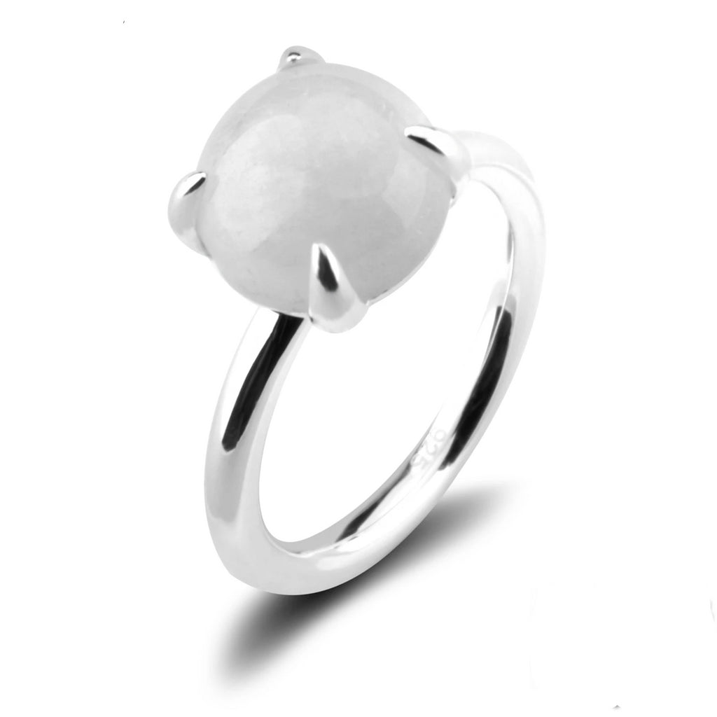 Natural Round Moonstone Sterling Silver Ring