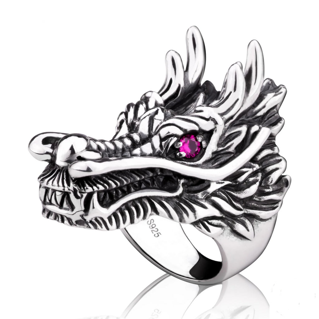 Dragon Head with Ruby Eyes Sterling Silver Ring
