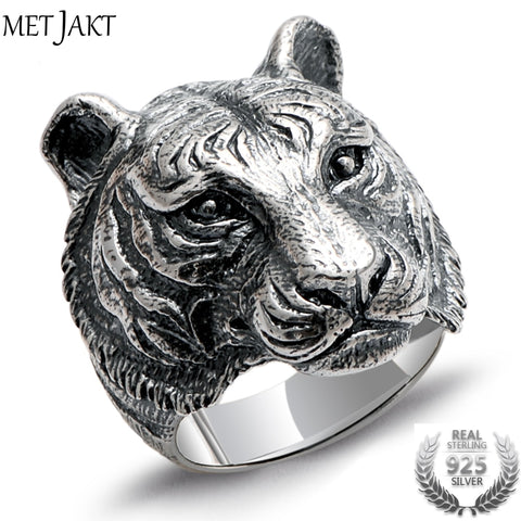 Tiger Head Sterling Silver Ring