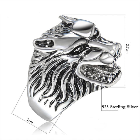 Ferocious Wolf Head Sterling Silver Ring