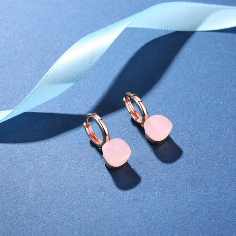 Natural Pink Agate Sterling Silver With Rose Gold Color Drop Earrings