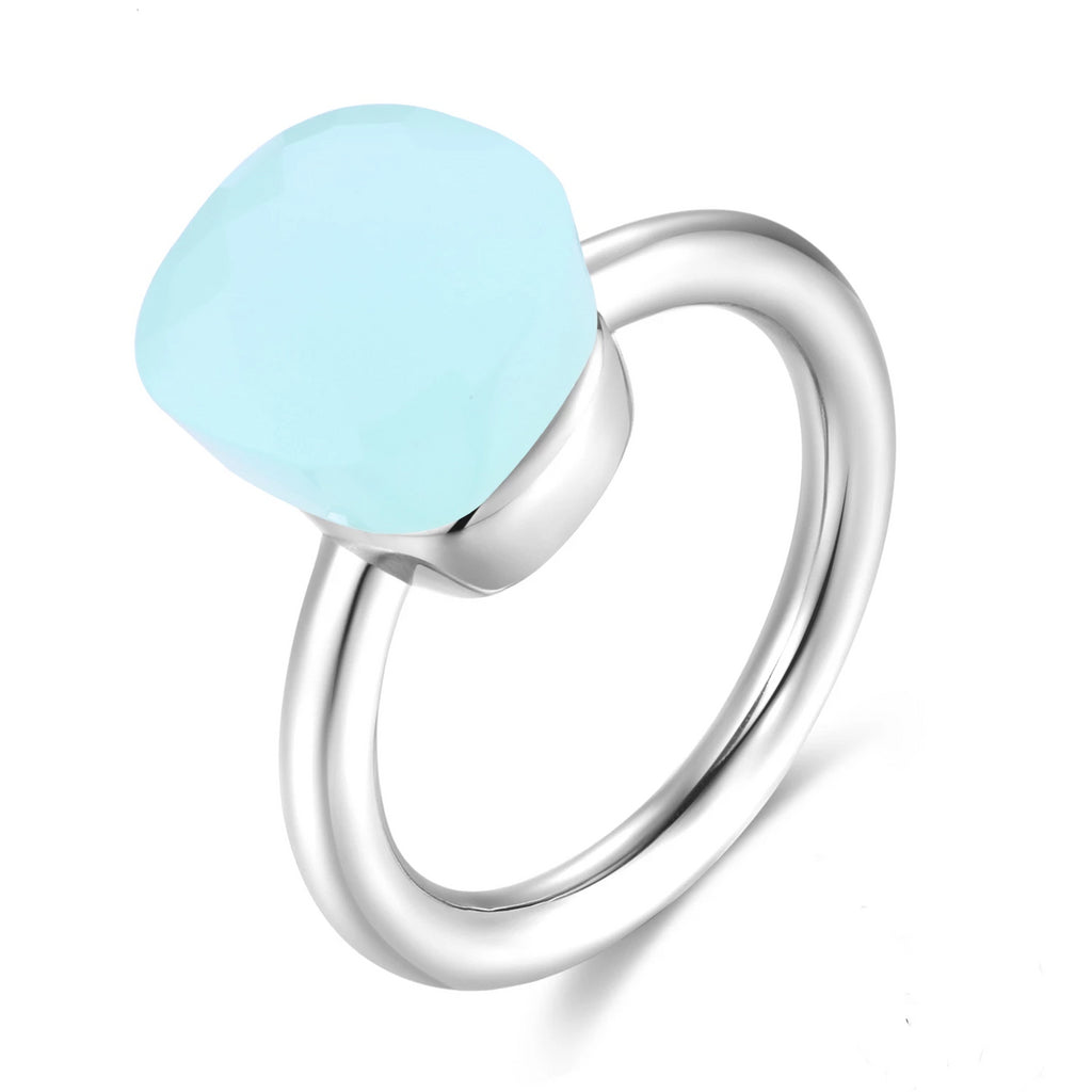 Natural Square Sky Blue Agate Sterling Silver Ring