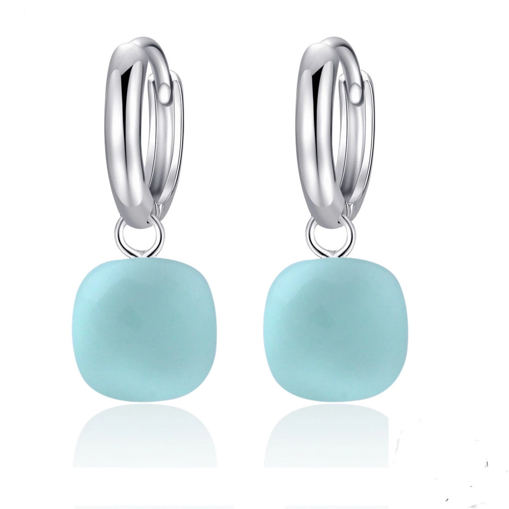 Natural Sky Blue Agate Sterling Silver Drop Earrings