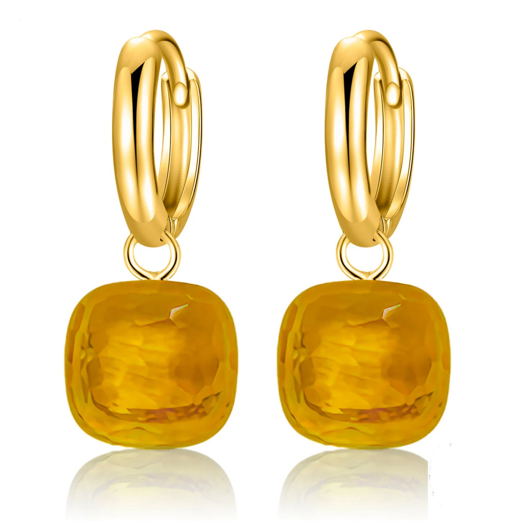 Natural Yellow Topaz Sterling Silver With Gold Color Earrings