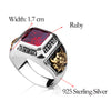 Sterling Silver Ruby with Hand Carved Golden Dragon Ring