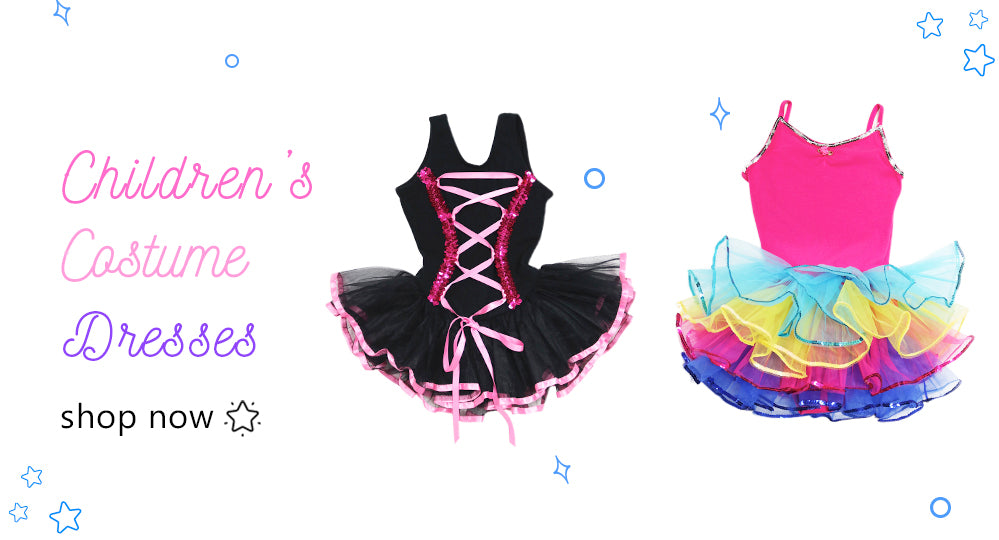 Children's dance costume dress collection. We have dresses with lots of pizzazz for those standout on stage moments.