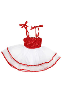 Girls' Red Ribbon Costume Dress Leotard