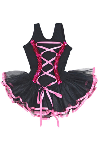 Girls' Black Lace Up Costume Leotard Dress