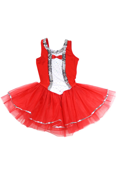 Girls' Red Tuxedo Costume Leotard Dress