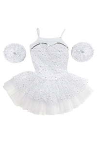 Girls' White Sparkle Costume Dress Leotard