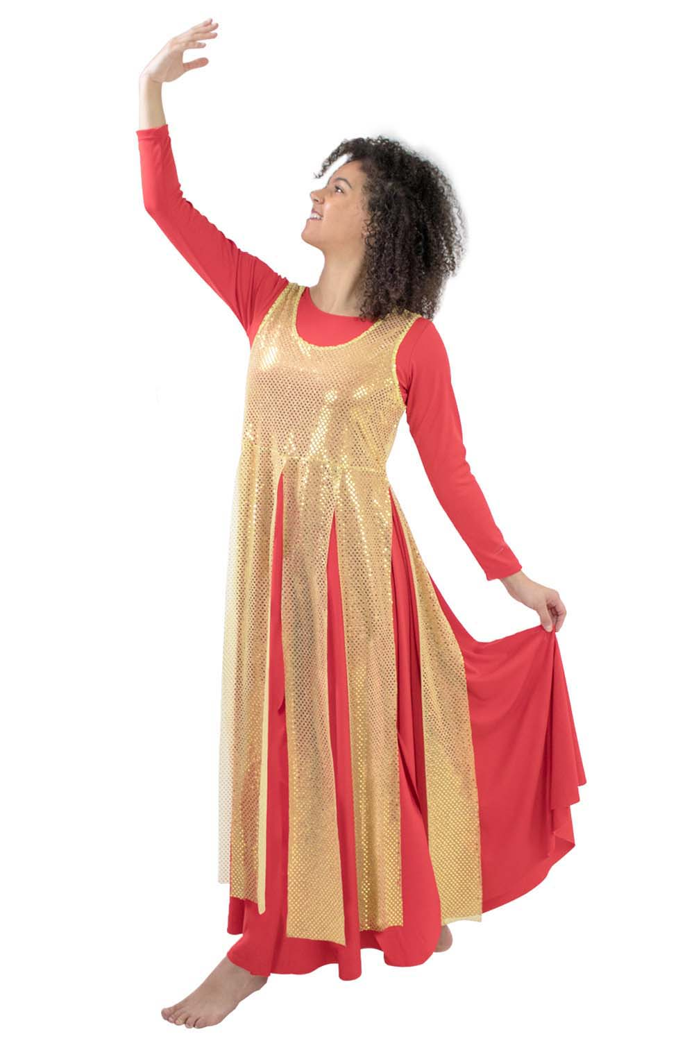 Adult Liturgical Sequin Tunic with Streamer Skirt