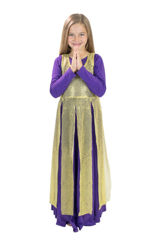 Children Liturgical Sequin Tunic with Streamer Skirt