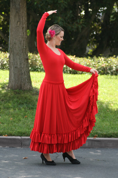 Woman Flamenco 8 Panel Ruffle Skirt in Red by Basic Moves