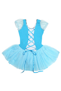 Girls' Blue Lace Up Costume Dress Leotard