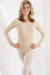 Woman Long Sleeve Nude Leotard by Basic Moves