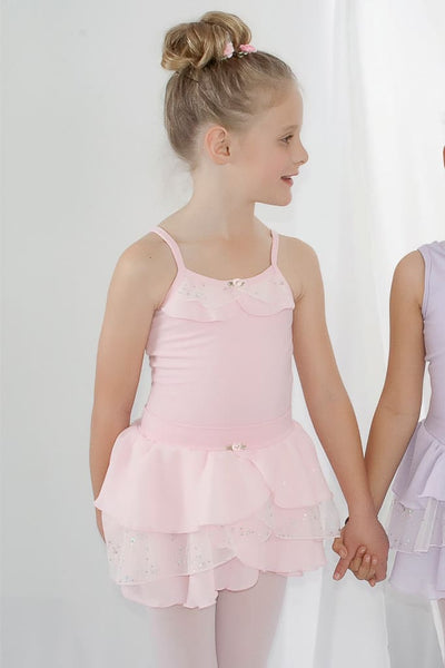Girls Spaghetti Strap Leotard With Layered Ruffle Leotards