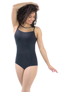 Adult Microfiber High Neck Mesh Yoke Leotard