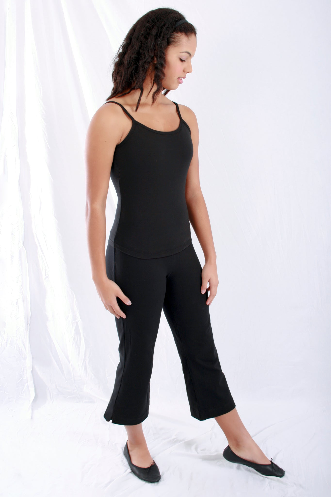 Woman Cotton blend Capri Boot Cut pants in Black by Basic Moves