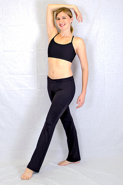 Woman Cotton Blend V-Front Jazz Pant in Black by Basic Moves