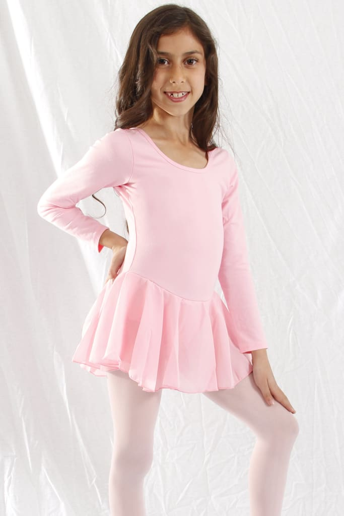 Girls Long Sleeve X-Dress 2/3 / Pink Dress