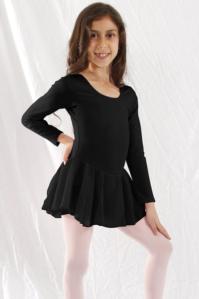 Girls Long Sleeve X-Dress 2/3 / Black Dress