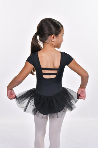 Girls' Satin Trim Short Sleeve Square Back Tutu Dress Leotard