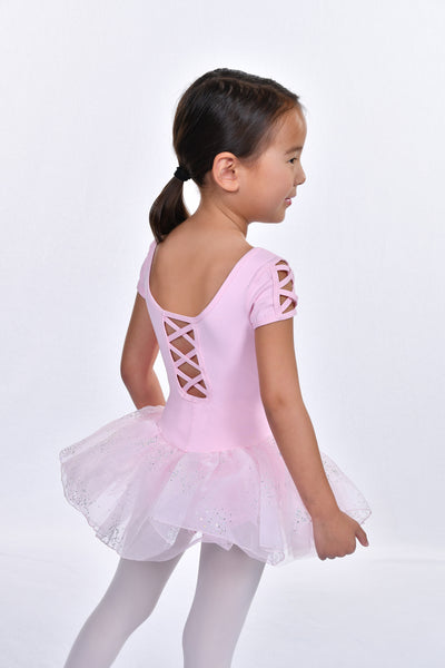 Girls' Caviar Dots Short Sleeve Tutu Dress Leotard