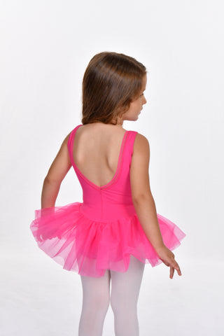 Girls' Detailed Trim V Back Tutu Dress Leotard