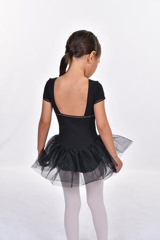 Girls' Detailed Trim Short Sleeve Square Back Tutu Dress Leotard