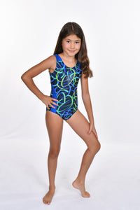 Girls' Scroll Design Metallic with Side Detail Leotard