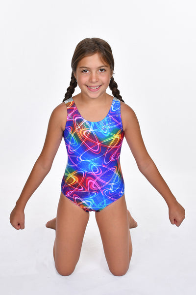 Girls' Rainbow Foil with Silver Detail Leotard