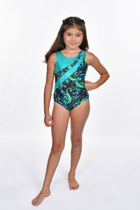 Girls' Scroll Design with Keyhole Back Leotard
