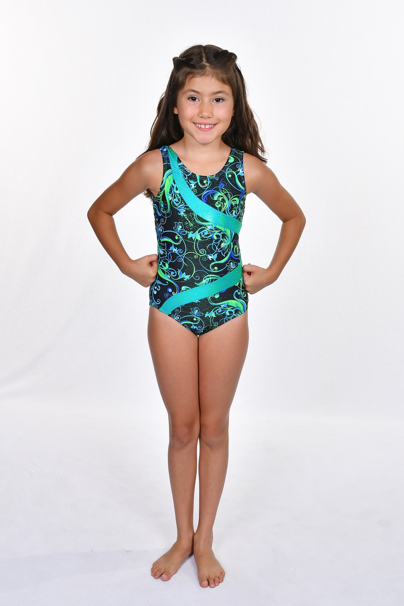 Girls' Scroll Design with Low Back Leotard