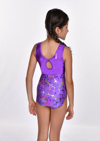 Girls' Rainbow Foil Keyhole Back Leotard