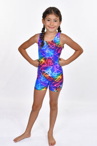 Girls' Rainbow Foil with Silver Detail Biketard