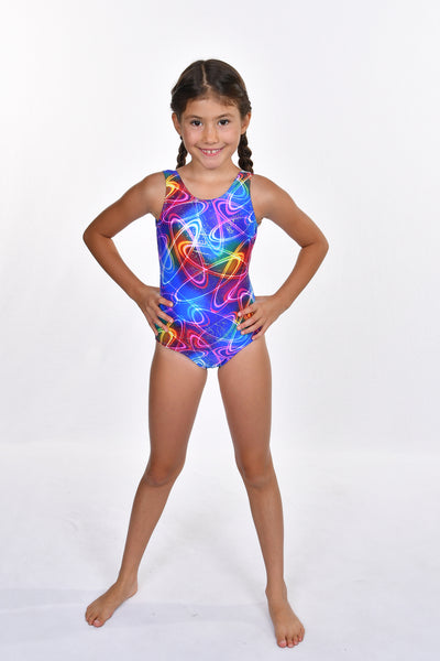 Girls' Rainbow Foil with Silver V Back Leotard