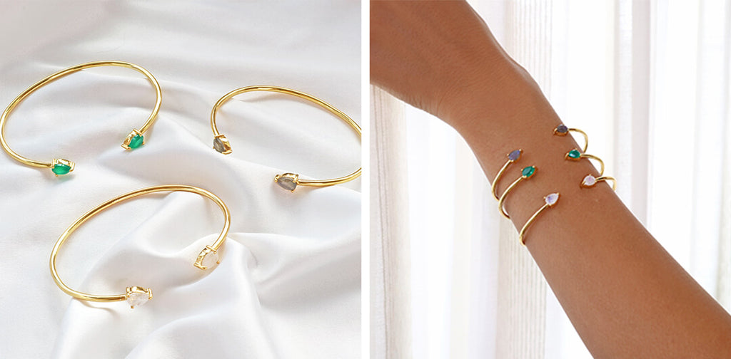Gold gemstone cuff bangle bracelet-Rani & Co. galentine day gift