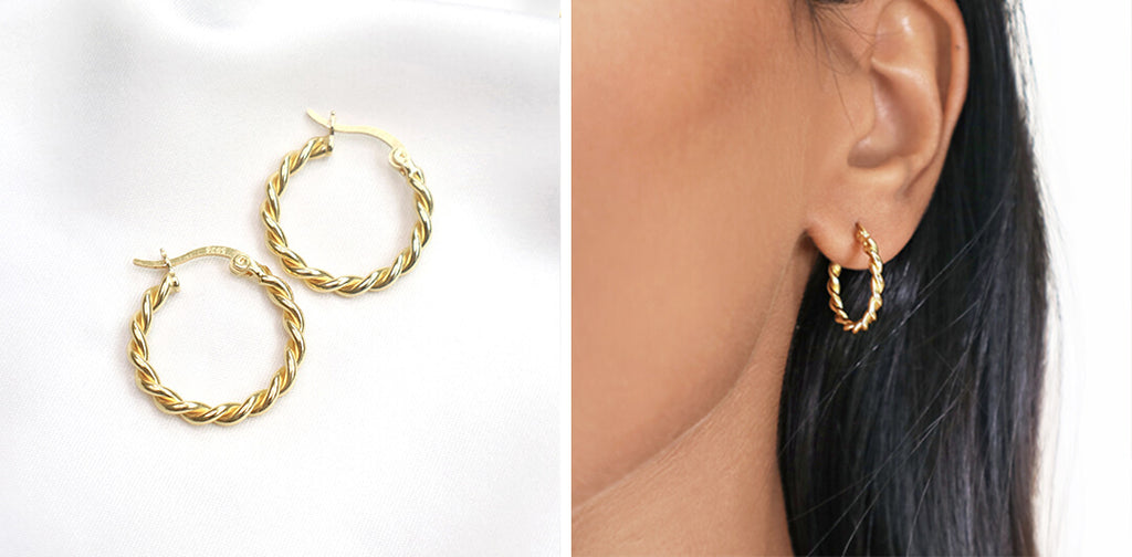 gold twist hoop earrings, Rani & Co. galentine day gift