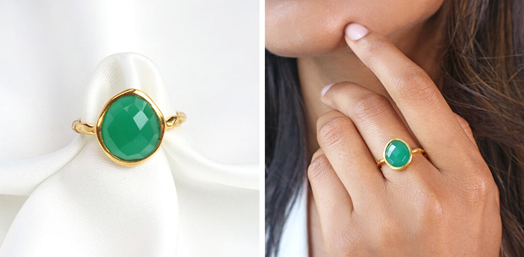 Green onyx gemstone gold ring-Rani & Co. galentine day gift
