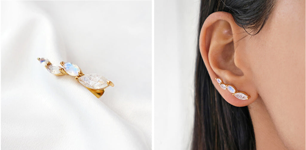Moonstone climber gold stud earrings, Rani & Co. Galentine Gift