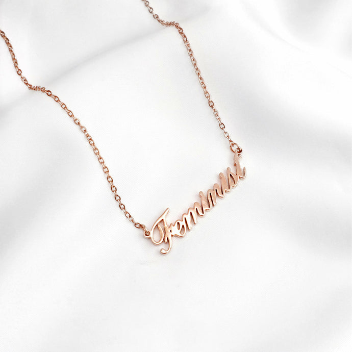 Rose gold feminist script word necklace, Rani & Co.